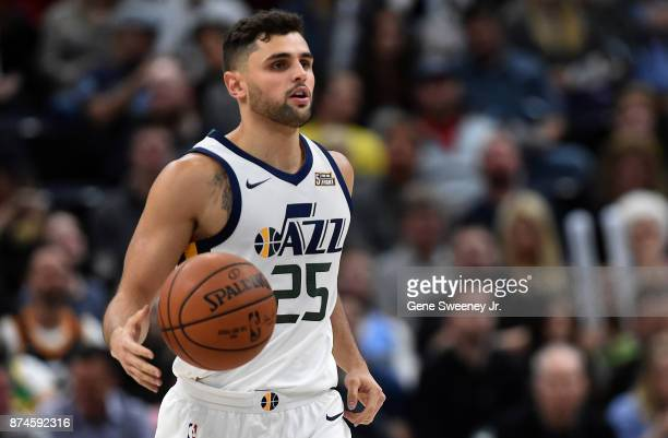 Raul Neto of the Utah Jazz brings the ball up court during their game against the Minnesota Timberwolves at Vivint Smart Home Arena on November 13...