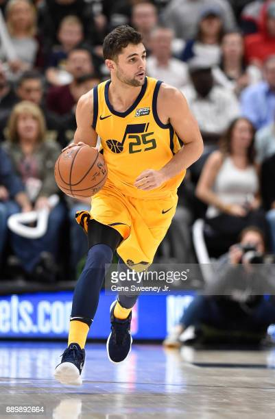 Raul Neto of the Utah Jazz brings the ball up court during their game against the Houston Rockets at Vivint Smart Home Arena on December 7 2017 in...