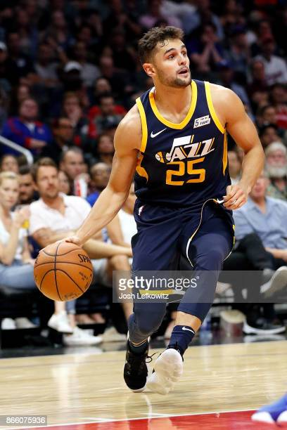 Raul Neto of the Utah Jazz controls the ball during the game against the LA Clippers at the Staples Center on October 24 2017 in Los Angeles...