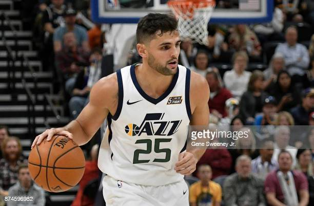 Raul Neto of the Utah Jazz controls the ball during their game against the Minnesota Timberwolves at Vivint Smart Home Arena on November 13 2017 in...