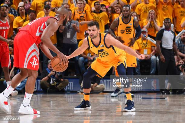 Raul Neto of the Utah Jazz defends against Chris Paul of the Houston Rockets during Game Four of the Western Conference Semifinals of the 2018 NBA...