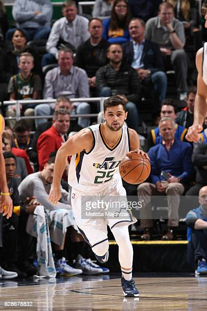 Raul Neto of the Utah Jazz drives to the basket against the Golden State Warriors during the game on December 8 2016 at vivintSmartHome Arena in Salt...