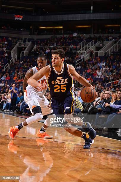 Raul Neto of the Utah Jazz drives to the basket against the Phoenix Suns on February 6 2016 at Talking Stick Resort Arena in Phoenix Arizona NOTE TO...