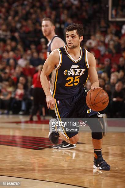 Raul Neto of the Utah Jazz drives to the basket against the Portland Trail Blazers on February 21 2016 at the Moda Center in Portland Oregon NOTE TO...