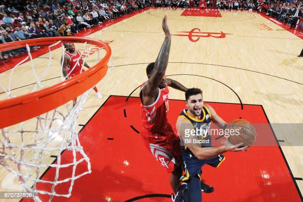 Raul Neto of the Utah Jazz goes for a lay up against the Houston Rockets on November 5 2017 at the Toyota Center in Houston Texas NOTE TO USER User...