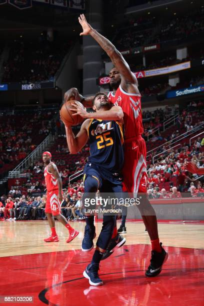 Raul Neto of the Utah Jazz goes to the basket against the Houston Rockets on November 5 2017 at the Toyota Center in Houston Texas NOTE TO USER User...