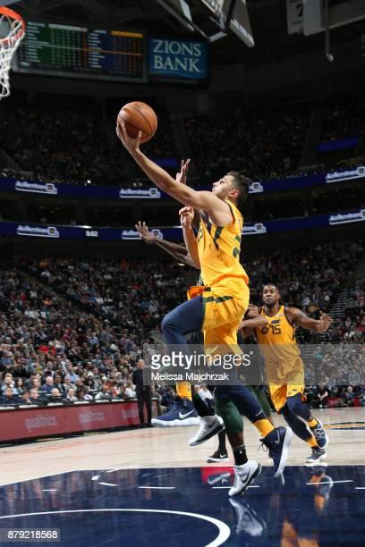 Raul Neto of the Utah Jazz goes to the basket against the Milwaukee Bucks on November 25 2017 at vivintSmartHome Arena in Salt Lake City Utah NOTE TO...