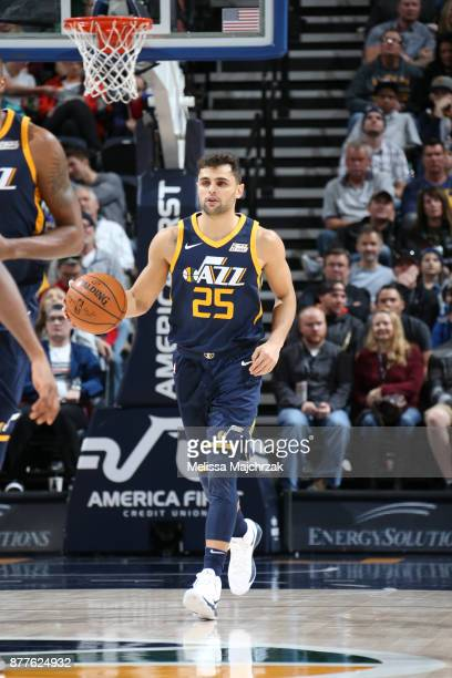 Raul Neto of the Utah Jazz handles the ball against the Chicago Bulls on November 22 2017 at Vivint Smart Home Arena in Salt Lake City Utah NOTE TO...