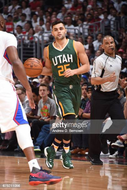 Raul Neto of the Utah Jazz handles the ball against the LA Clippers during Game Seven of the Western Conference Quarterfinals of the 2017 NBA...