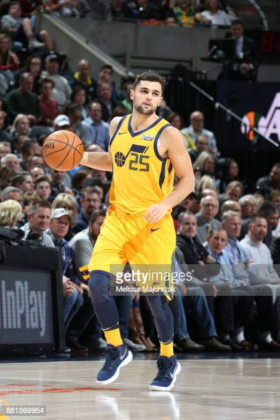 Raul Neto of the Utah Jazz handles the ball against the Denver Nuggets on November 28 2017 at vivintSmartHome Arena in Salt Lake City Utah NOTE TO...
