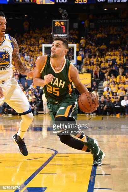 Raul Neto of the Utah Jazz handles the ball against the Golden State Warriors during Game One of the Western Conference Semifinals of the 2017 NBA...