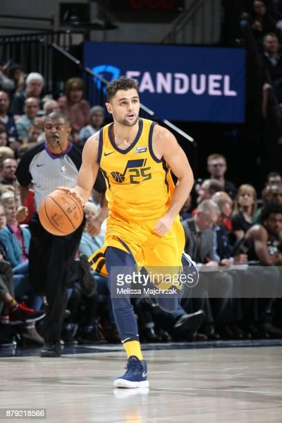 Raul Neto of the Utah Jazz handles the ball against the Milwaukee Bucks on November 25 2017 at vivintSmartHome Arena in Salt Lake City Utah NOTE TO...