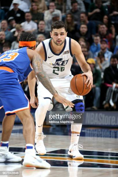 Raul Neto of the Utah Jazz handles the ball against the New York Knicks on January 19 2018 at vivintSmartHome Arena in Salt Lake City Utah NOTE TO...