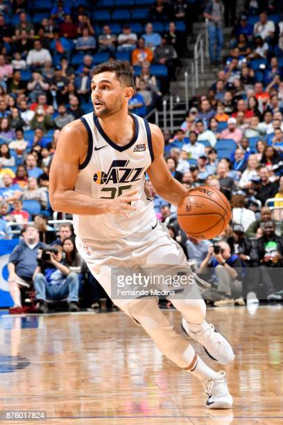 Raul Neto of the Utah Jazz handles the ball against the Orlando Magic on November 18 2017 at Amway Center in Orlando Florida NOTE TO USER User...