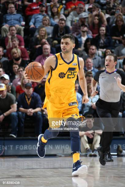 Raul Neto of the Utah Jazz handles the ball against the Phoenix Suns on February 14 2018 at Vivint Smart Home Arena in Salt Lake City Utah NOTE TO...