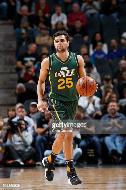 Raul Neto of the Utah Jazz handles the ball against the San Antonio Spurs during the game on December 14 2015 at the ATT Center in San Antonio Texas...