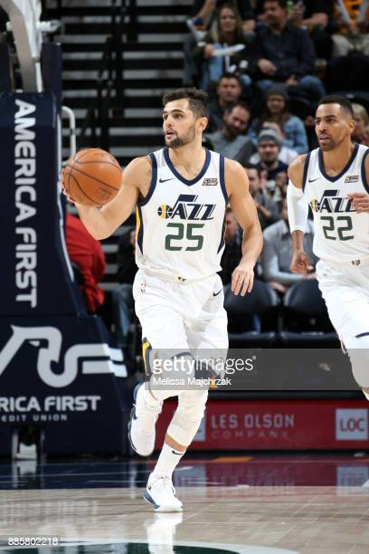 Raul Neto of the Utah Jazz handles the ball against the Washington Wizards on December 4 2017 at Vivint Smart Home Arena in Salt Lake City Utah NOTE...