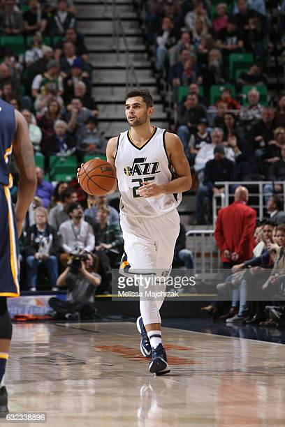 Raul Neto of the Utah Jazz handles the ball during a game against the Indiana Pacers on January 21 2017 at vivintSmartHome Arena in Salt Lake City...