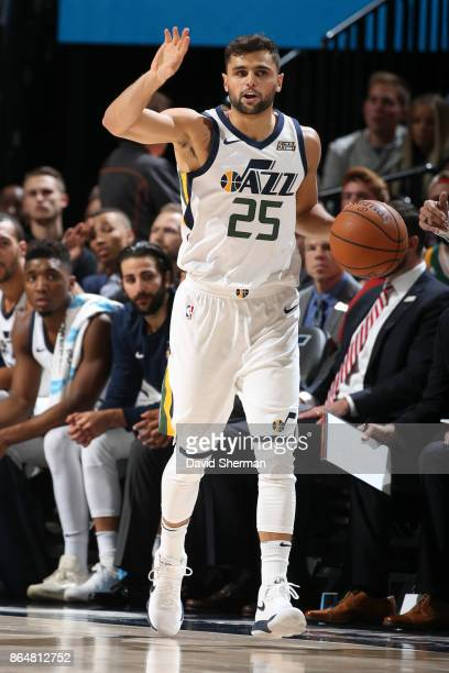 Raul Neto of the Utah Jazz handles the ball during a game against the Oklahoma City Thunder on October 21 2017 at Vivint Smart Home Arena in Salt...
