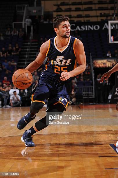 Raul Neto of the Utah Jazz handles the ball during a preseason game against the Phoenix Suns on October 5 at Talking Stick Resort Arena in Phoenix...