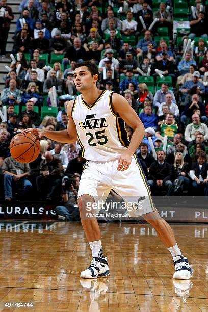 Raul Neto of the Utah Jazz handles the ball during the game against the Toronto Raptors on November 18 2015 at EnergySolutions Arena in Salt Lake...