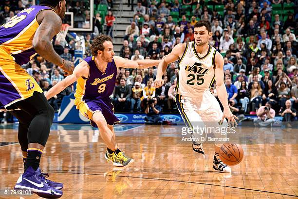 Raul Neto of the Utah Jazz handles the ball during the game against the Los Angeles Lakers on March 28 2016 at EnergySolutions Arena in Salt Lake...