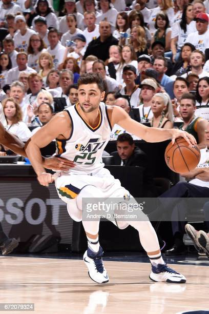 Raul Neto of the Utah Jazz handles the ball during the game against the LA Clippers in Game Four during the Western Conference Quarterfinals of the...