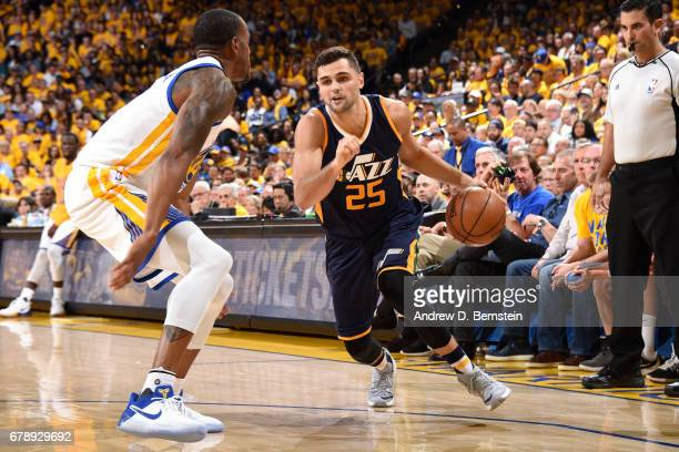 Raul Neto of the Utah Jazz handles the ball during the game against the Golden State Warriors during Game Two of the Western Conference Semifinals of...