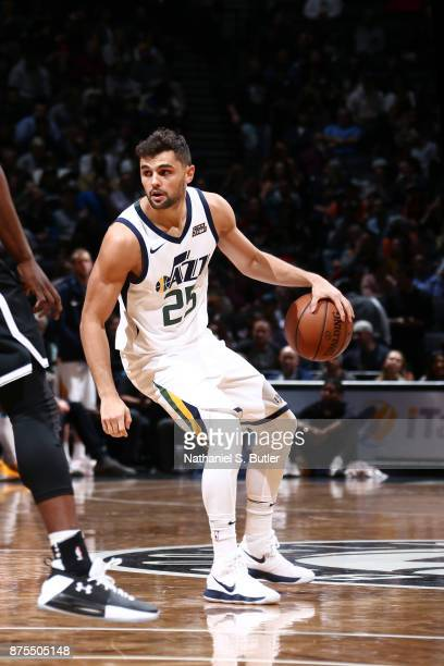 Raul Neto of the Utah Jazz handles the ball during the game against the Brooklyn Nets on November 17 2017 at Barclays Center in Brooklyn New York...