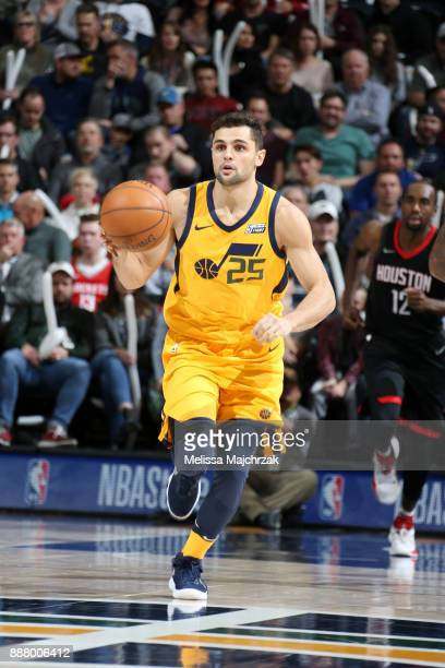 Raul Neto of the Utah Jazz handles the ball during the game against the Houston Rockets on December 7 2017 at VivintSmartHome Arena in Salt Lake City...