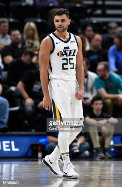Raul Neto of the Utah Jazz looks on during their game against the Minnesota Timberwolves at Vivint Smart Home Arena on November 13 2017 in Salt Lake...