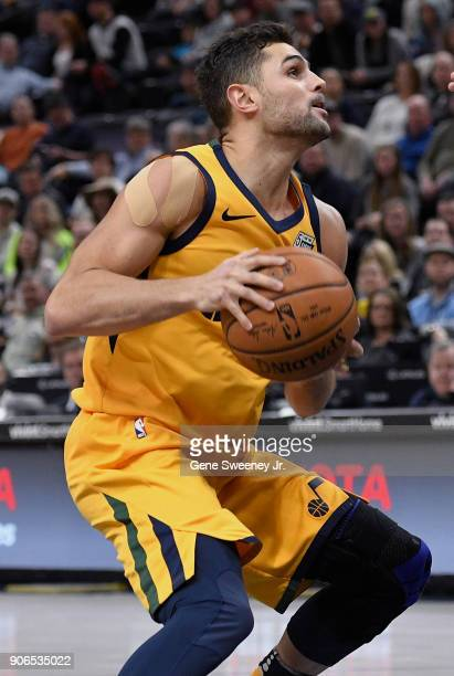 Raul Neto of the Utah Jazz looks to shoot the ball during a game against the Indiana Pacers at Vivint Smart Home Arena on January 15 2018 in Salt...