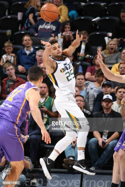 Raul Neto of the Utah Jazz passes the ball against the Sydney Kings during a preseason game on October 2 2017 at vivintSmartHome Arena in Salt Lake...