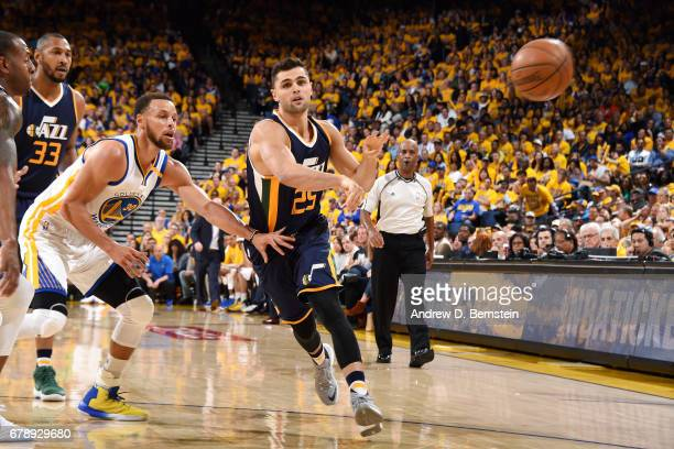 Raul Neto of the Utah Jazz passes the ball during the game against the Golden State Warriors during Game Two of the Western Conference Semifinals of...