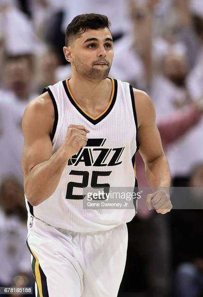 Raul Neto of the Utah Jazz pumps his fist in the second half against the Los Angeles Clippers in Game Six of the Western Conference Quarterfinals...