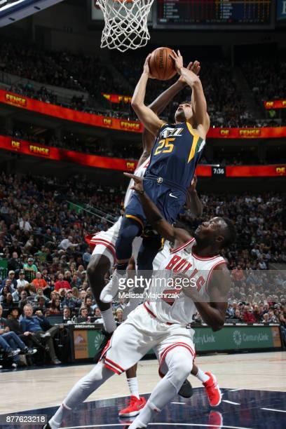 Raul Neto of the Utah Jazz shoots the ball against the Chicago Bulls on November 22 2017 at Vivint Smart Home Arena in Salt Lake City Utah NOTE TO...