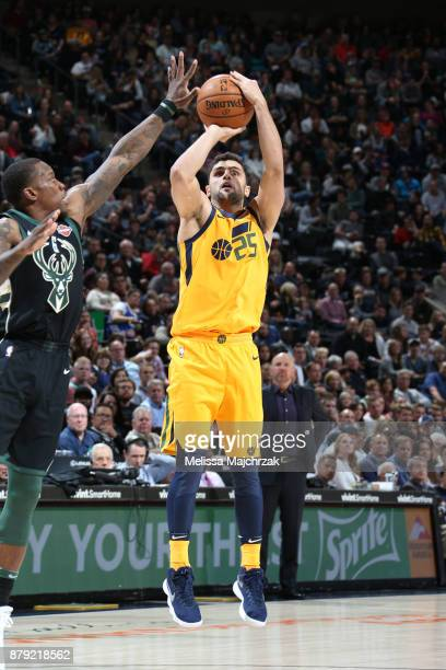 Raul Neto of the Utah Jazz shoots the ball against the Milwaukee Bucks on November 25 2017 at vivintSmartHome Arena in Salt Lake City Utah NOTE TO...