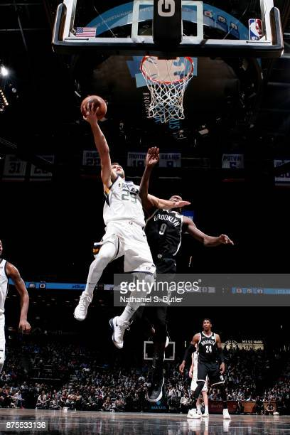 Raul Neto of the Utah Jazz shoots the ball during the game against the Brooklyn Nets on November 17 2017 at Barclays Center in Brooklyn New York NOTE...