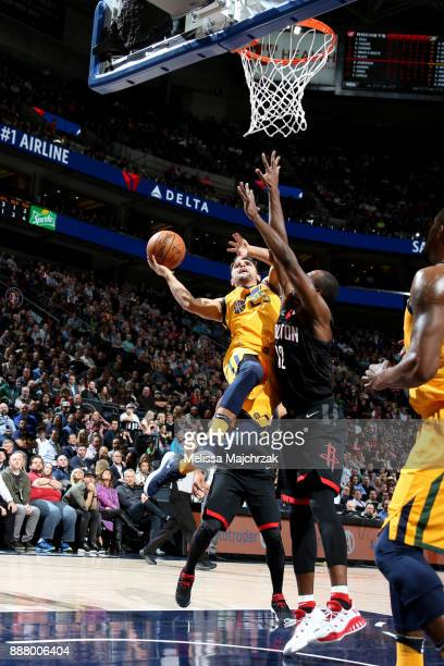 Raul Neto of the Utah Jazz shoots the ball during the game against the Houston Rockets on December 7 2017 at VivintSmartHome Arena in Salt Lake City...