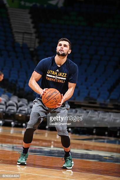 Raul Neto of the Utah Jazz warms up before the game against the Minnesota Timberwolves on November 28 2016 at Target Center in Minneapolis Minnesota...