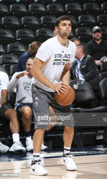 Raul Neto of the Utah Jazz warms up before the game against the Washington Wizards on March 31 2017 at vivintSmartHome Arena in Salt Lake City Utah...