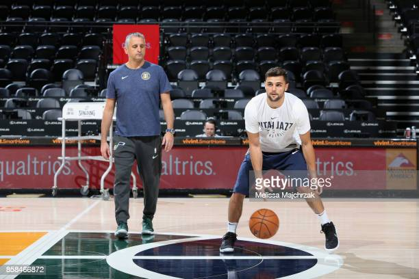 Raul Neto of the Utah Jazz warms up before the game against the Phoenix Suns on October 6 2017 at vivintSmartHome Arena in Salt Lake City Utah NOTE...