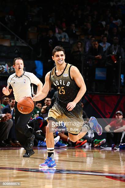 Raul Neto of the World Team handles the ball against the USA Team during the BBVA Compass Rising Stars Challenge as part of NBA AllStar 2016 on...