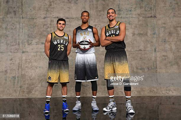 Raul Neto Rodney Hood and Trey Lyles of Team World poses for a portrait prior to the BBVA Rising Stars Game on February 12 2016 at the Air Canada...