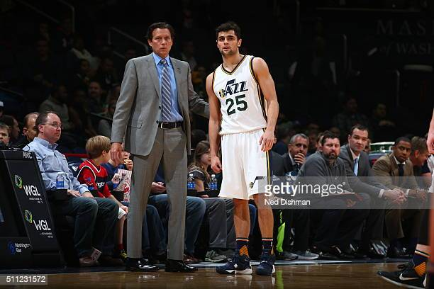 Raul Neto talks to Quin Snyder of the Utah Jazz during the game against the Washington Wizards against the Washington Wizards on February 18 2016 at...