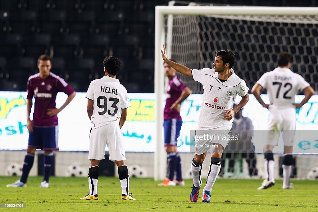 Raul of Al Sadd waves to Schalke supporters before leaving the pitch during the friendly match between Al-Sadd Sports Club and FC Schalke 04 at Jassim Bin Hamad Stadium on January 6, 2013 in Doha, Qatar.