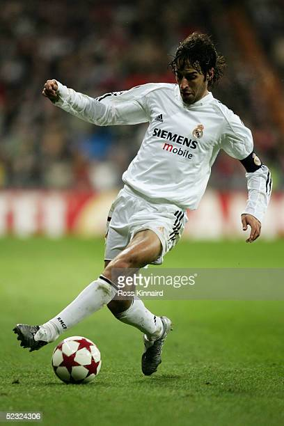 Raul of Real Madrid in action during the UEFA Champions League match between Real Madrid and Juventus at The Bernabeu Stadium on February 22 2005 in...