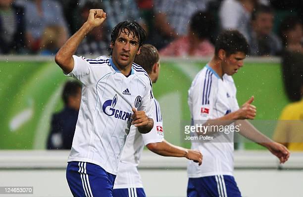 Raul of Schalke celebrates after scoring his team's first goal during the Bundesliga match between VfL Wolfsburg and FC Schalke 04 at Volkswagen...