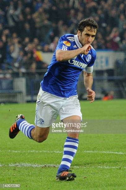 Raul of Schalke celebrates after scoring his team's second goal during the UEFA Europa Leauge quarter final first leg match between FC Schalke 04 and...