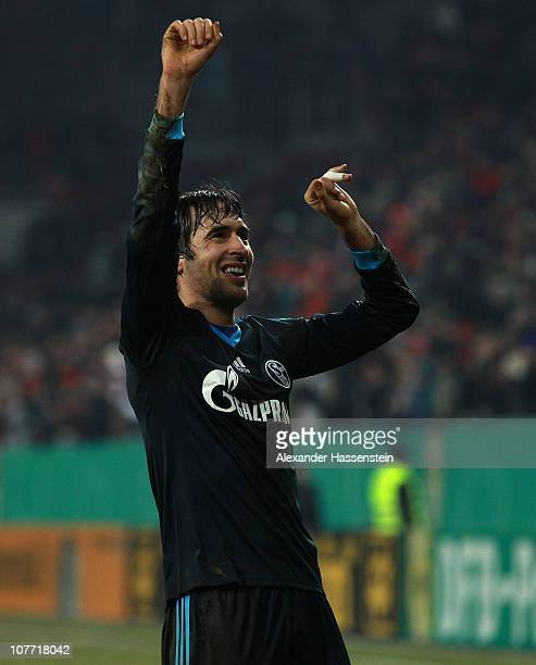 Raul of Schalke celebrates after the DFB Cup last 16 match between FC Augsburg and FC Schalke 04 at Impuls Arena on December 21 2010 in Augsburg...